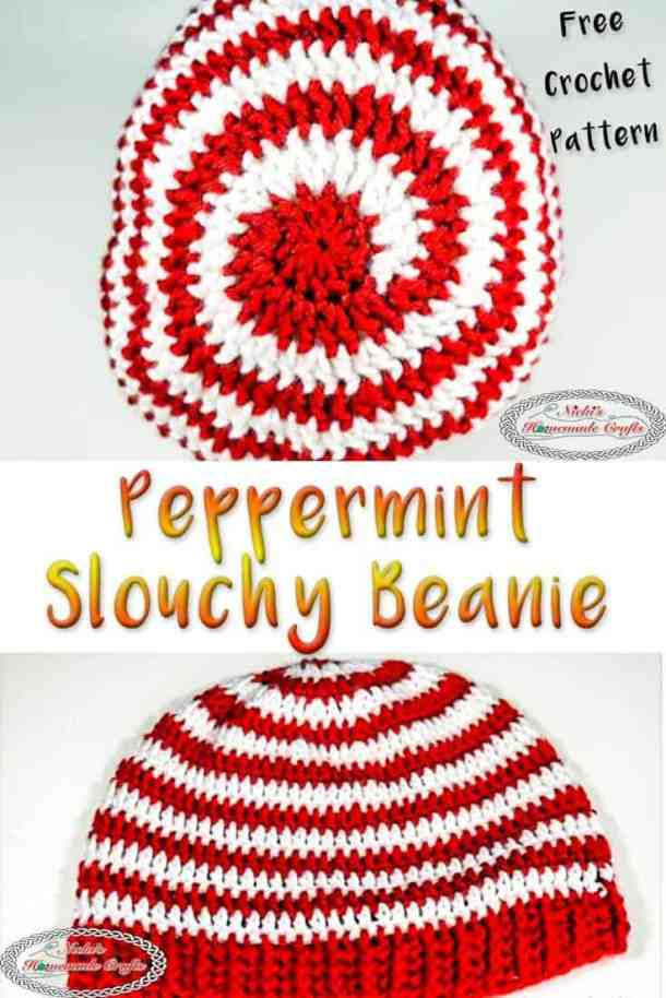 Peppermint Slouchy Beanie for Christmas and Winter