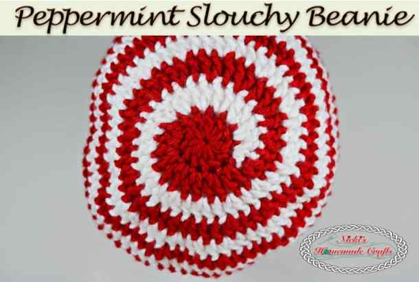 Peppermint Slouchy Beanie - Free Crochet Pattern by Nicki's Homemade Crafts #crochet #christmas #peppermint #slouchy #beanie