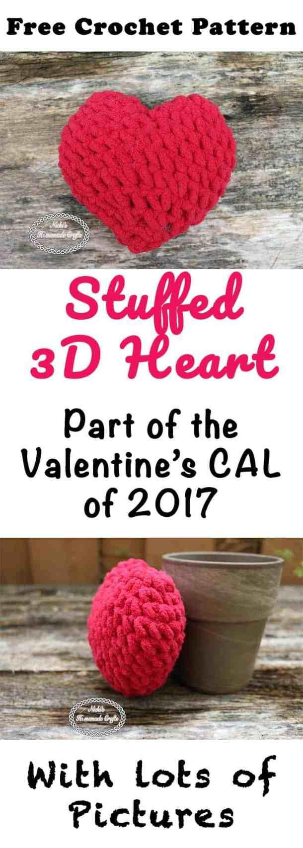 Stuffed 3D Heart - Free Crochet Pattern by Nicki's Homemade Crafts #crochet #freecrochetpattern #crochetalong #valentinesday #heart