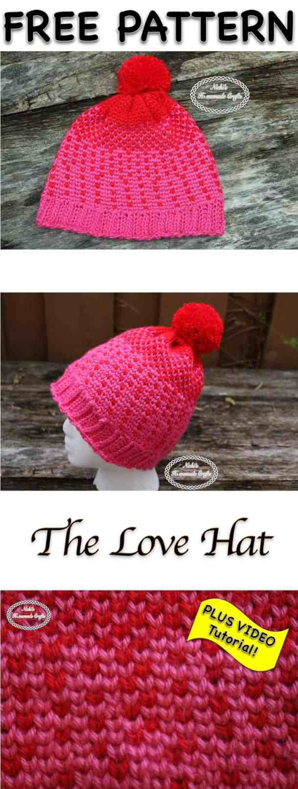 The Love Hat - Free Crochet Pattern by Nicki's Homemade Crafts