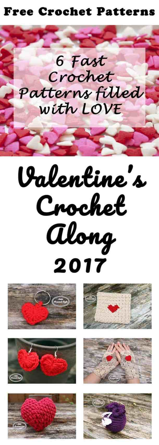 Valentine's CAL 2017 Free Crochet Patterns by Nicki's Homemade Crafts #crochet #crochetalong #freecrochetpatterns #heart #love #valentinesday