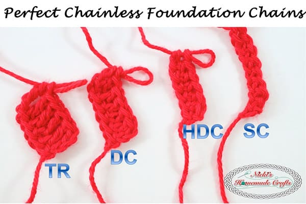 The Secret to the Perfect Chainless Foundation Chains - sc, hdc, dc, tr, Single Crochet, Double Crochet, Half Double Crochet, Treble Crochet - Crochet Tutorial by Nicki's Homemade Crafts #crochet #tutorial #stutches #red #howto #diy #secret #best #perfect #crocheting #learn #easy #foundation #chain #chainless #beginner