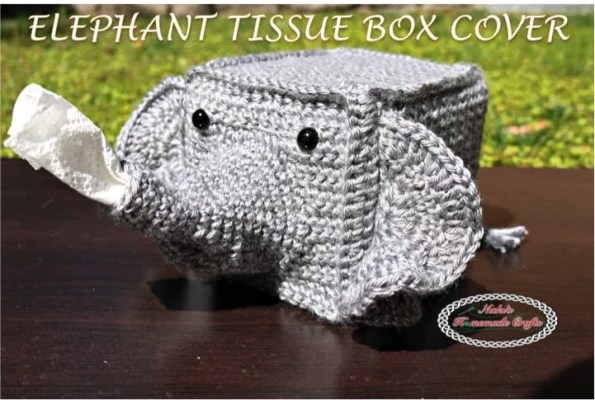 Elephant Tissue Box Cover Free Crochet Pattern Nicki's Homemade Crafts