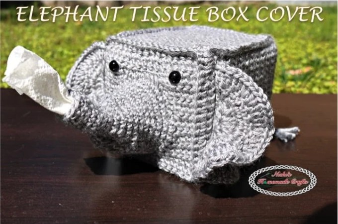 Elephant Tissue Box Cover- Free Crochet Pattern
