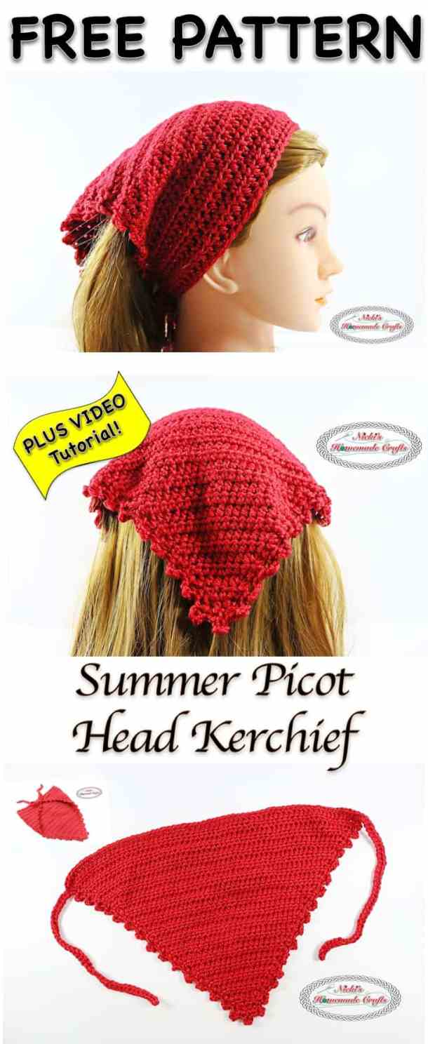Summer Picot Head Kerchief - Free Crochet Pattern - Nicki\'s Homemade ...