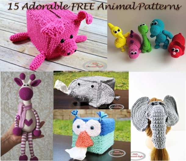 Crocheted Piggy Bank, Dinosaurs, Giraffe, Elephant and Owl as part of 15 Super Adorable Free Animal Patterns which is a Collection by Nicki's Homemade Crafts