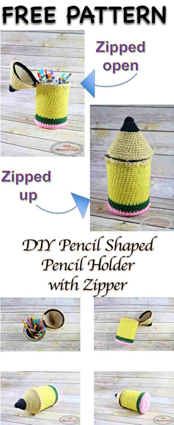 DIY Pencil Shaped Pencil Holder with Zipper - Free Crochet Pattern for Back-to-School by Nicki's Homemade Crafts