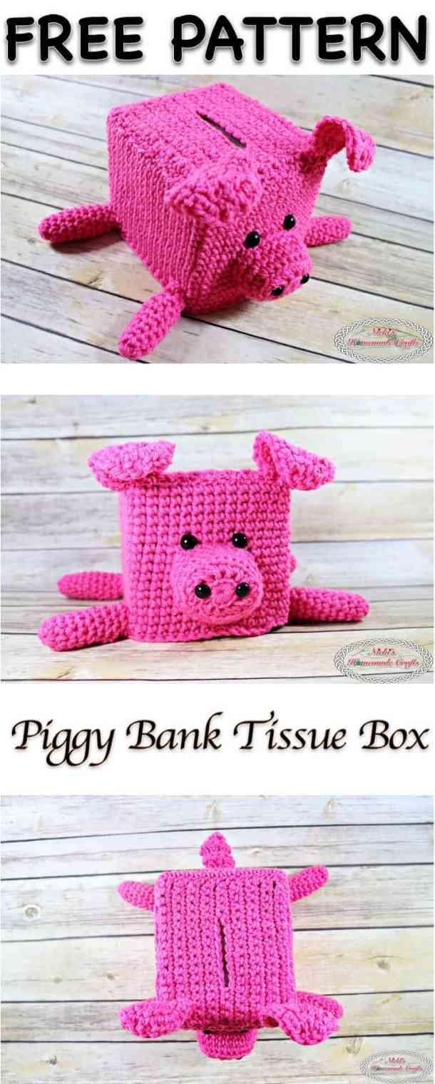 Piggy Bank Tissue Box Free Crochet Pattern Nickis Homemade Crafts