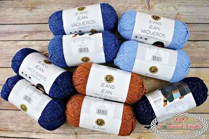Lion Brand Jeans Yarn for Modular Pocket Bag Crochet Along by Nicki's Homemade Crafts