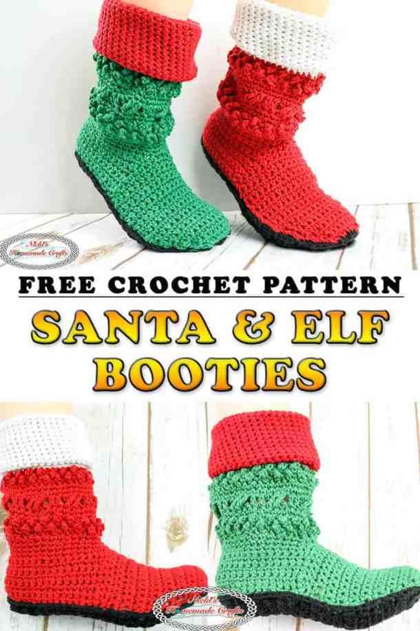 Crochet Christmas Santa & Elf Booties