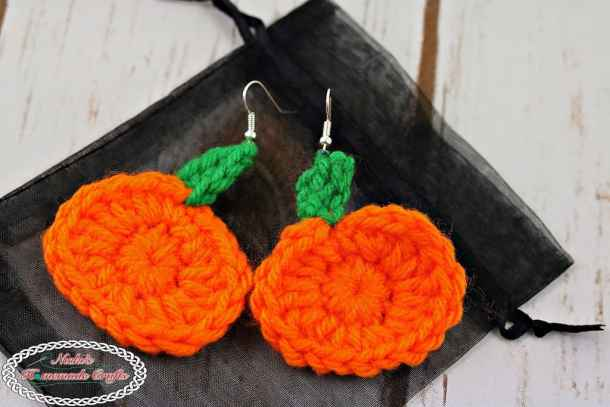 Mini Pumpkin Earrings Free Crochet Pattern Nickis Homemade Crafts