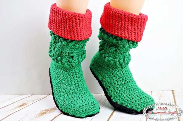 Adult Christmas Santa and Elf Booties Crochet Along - by Nicki's Homemade Crafts - Free Crochet Pattern #crochet #freecrochetpattern #santa #elf #booties #christmas #booties #boots