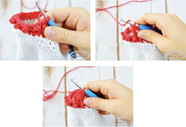 How to crochet the Berry stitch for the Adult Christmas Santa and Elf Booties - Free Crochet Pattern