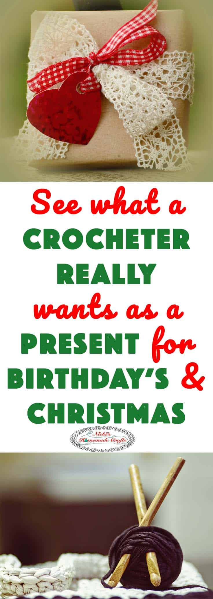 What a Crocheter REALLY wants as a Present for Christmas and Birthday's by Nicki's Homemade Crafts #crochet #present #gift #christmas #birthday #giving #happy #hooks #yarn