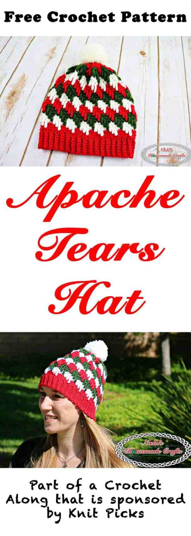 Apache Tears Hat - Free Crochet Pattern - Crochet Along by Nicki's Homemade Crafts #crochet #freecrochetpattern #hat #apachetears #crochetalong #knitpicks