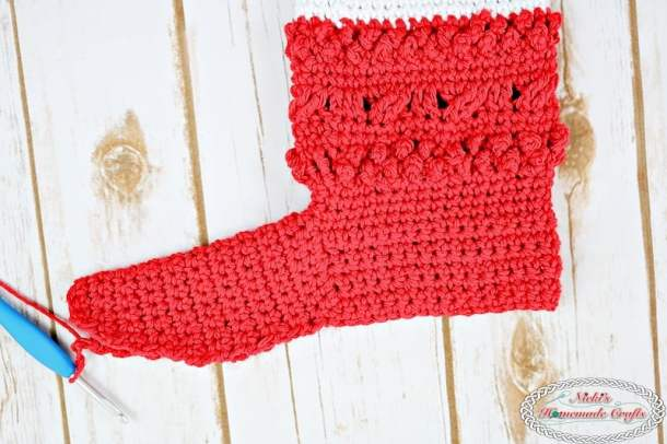 Finished the foot part of the Adult Christmas Santa and Elf Booties - Free Crochet Pattern