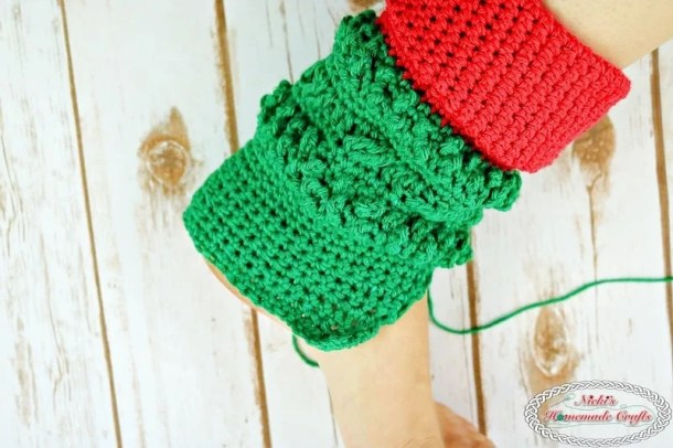 Leg extension for the Adult Christmas Santa and Elf Booties - Free Crochet Pattern