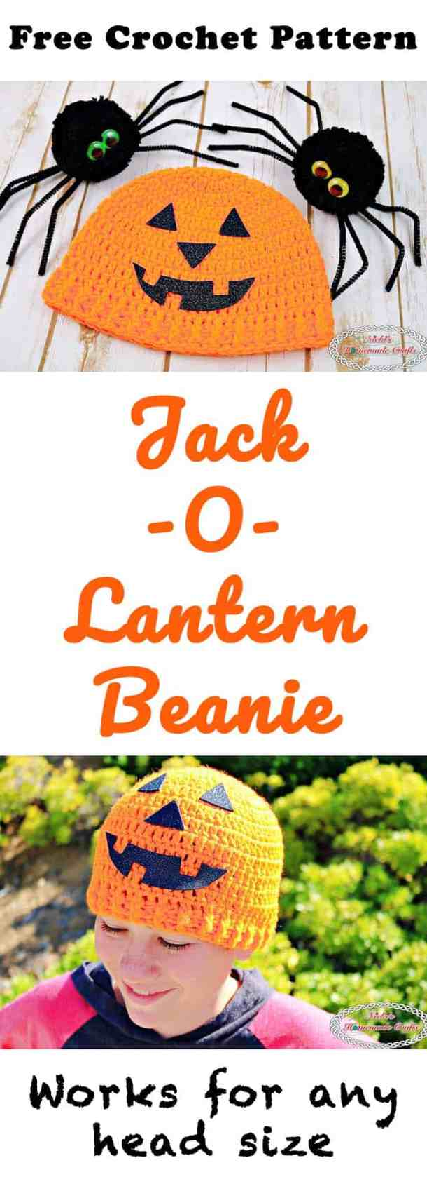 Jack-O-Lantern Beanie -Free Crochet Pattern by Nicki's Homemade Crafts #crochet #halloween #beanie #hat #jackolantern #pumpkin