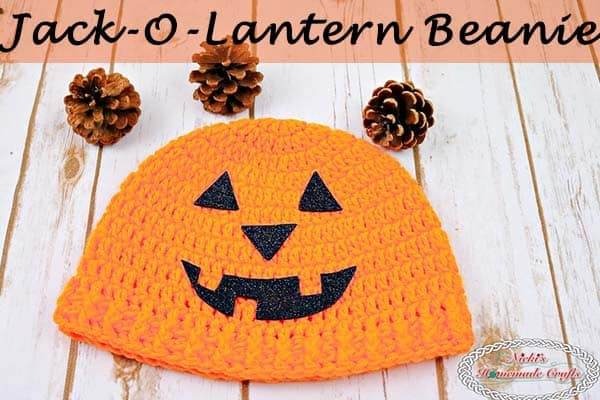 Jack-O-Lantern Beanie -Free Crochet Pattern by Nicki's Homemade Crafts #crochet #halloween #beanie #hat #jackolantern #pumpkin
