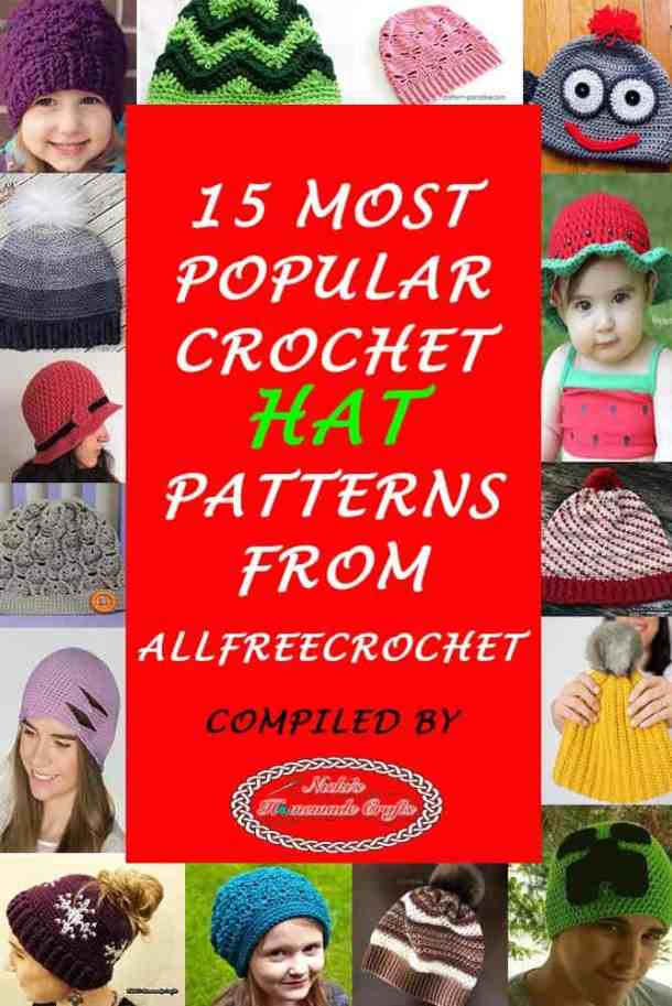 15 Most Popular Crochet Hat Patterns from AllFreeCrochet by Nicki s  Homemade Crafts  crochet  patterns e61d6b95fcc1