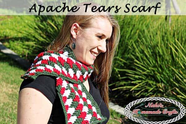 Apache Tears Scarf - Free Crochet Pattern - Crochet Along by Nicki's Homemade Crafts #crochet #freecrochetpattern #hat #apachetears #crochetalong #knitpicks