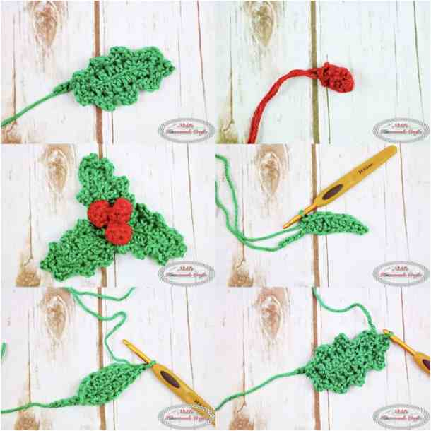 Crochet Holly with leaves and berries