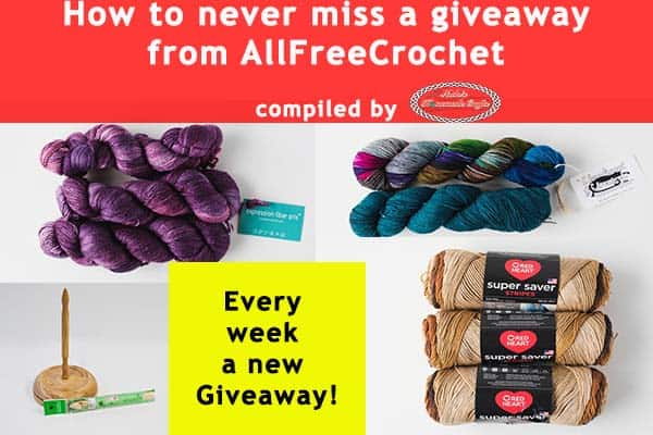 How to never miss a giveaway from AllFreeCrochet to get free yarn and crochet supplies, compiled by Nicki's Homemade Crafts #crochet #giveaway #free #yarn #hooks #everyweek