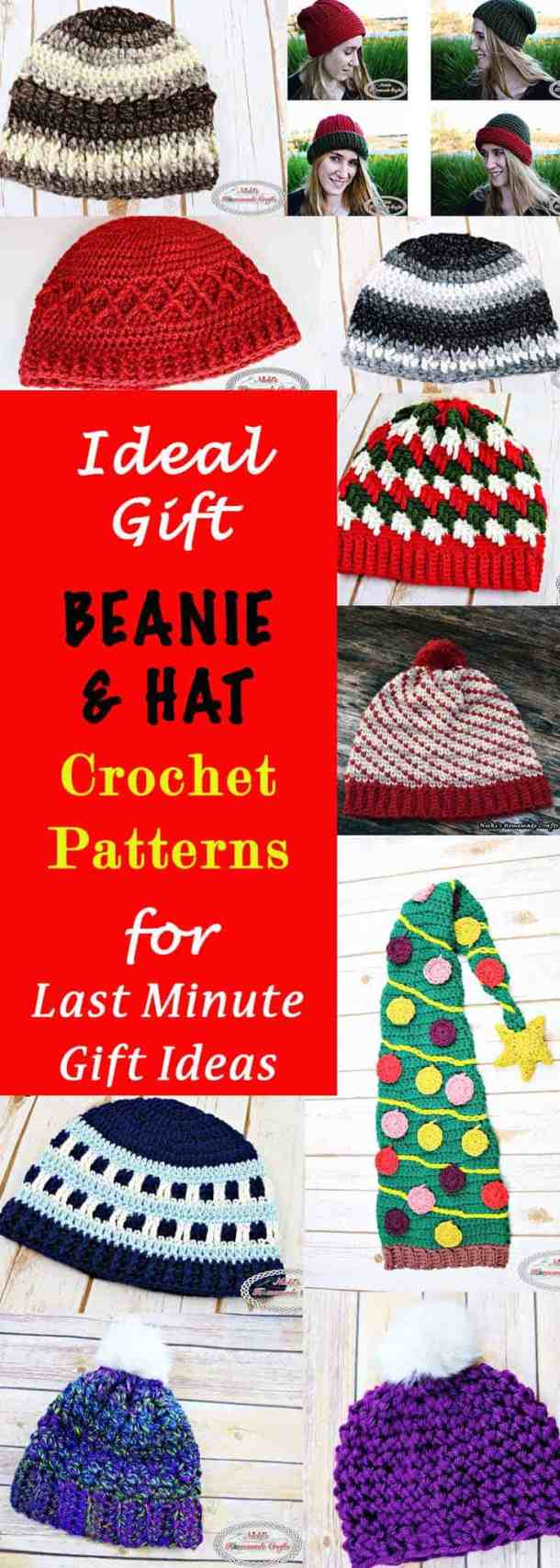Ideal Gift Beanie and Hat Crochet Patterns for Last Minute Gift Ideas. This Collection is very detailed in explaining all kinds of aspects in making and designing a beanie or hat and provides many ideas and tips and tricks. This Collection was created by Nicki's Homemade Crafts #crochet #beanie #hat #last #minute #gift #idea #ideal #perfect #collection #free #pattern