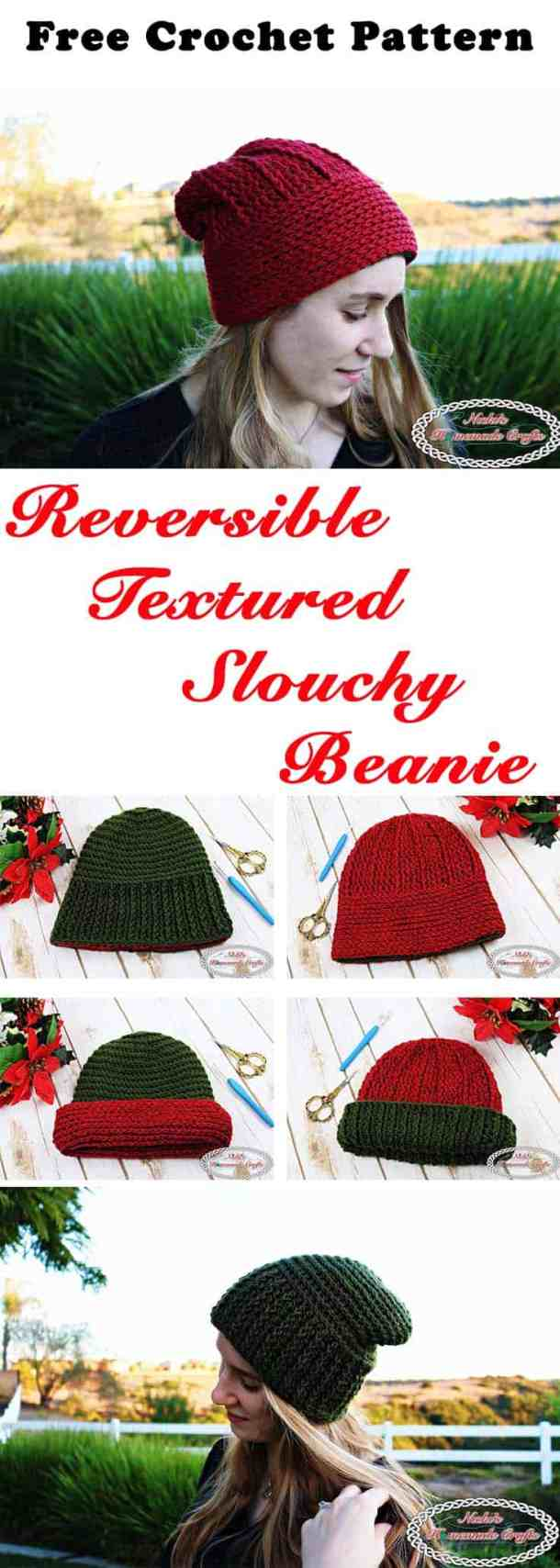 Reversible Textured Slouchy Beanie - Red and Green - horizontal lines and vertical lines with flip over ribbing edging- Free Crochet Pattern -Nicki's Homemade Crafts #crochet #slouchy #free #pattern #red #green #textured #christmas #reversible #beanie #hat