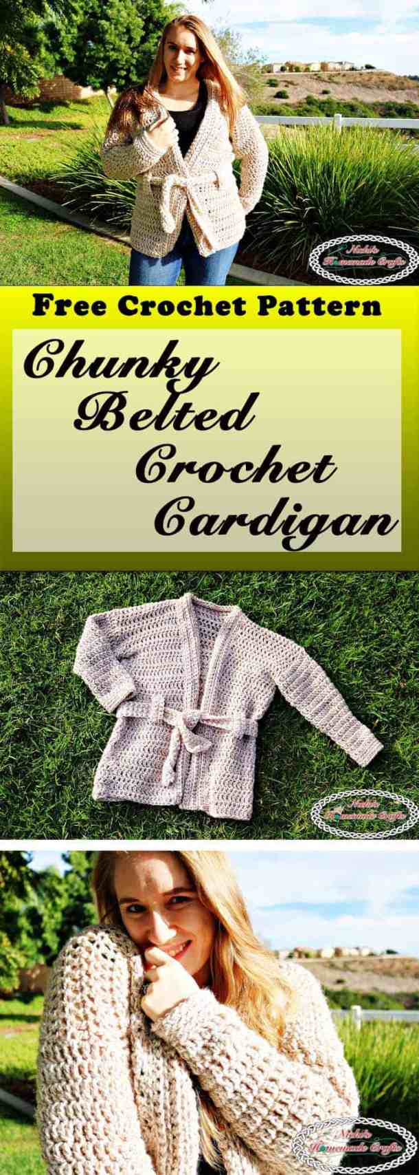 Chunky Belted Crochet Cardigan - Free Pattern - Nicki\'s Homemade Crafts