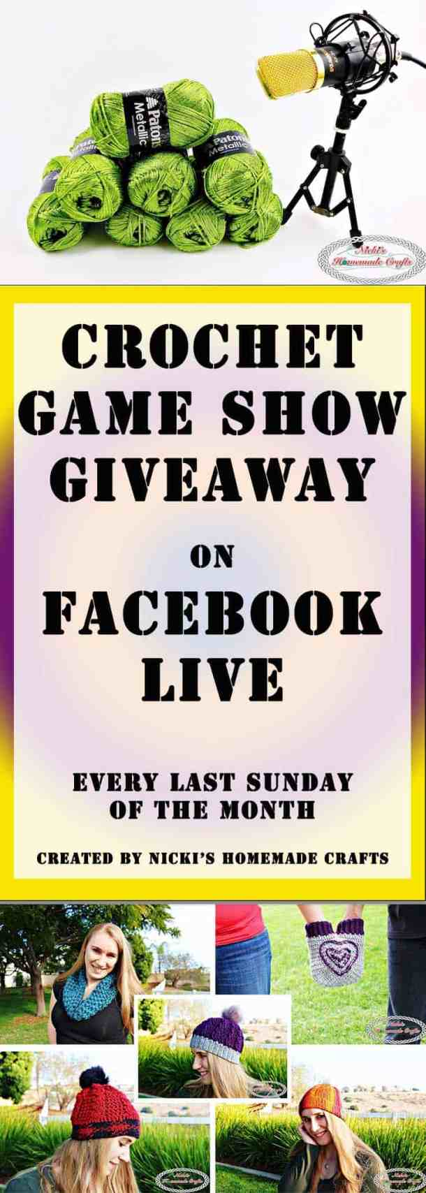 Crochet Game Show Giveaway 5 Pdf Patterns by Nicki's Homemade Crafts #crochet #game #show #giveaway #pattern #pdf #download #diy #diyhomedecor #win #yarn #facebook #live #yellow #green #red #purple #sunset #rainbow #hearts #valentinesday #love