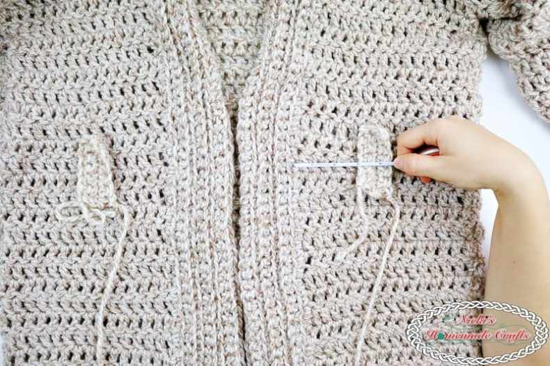 Chunky Belted Crochet Cardigan - Free Crochet Pattern by Nicki's Homemade Crafts #crochet #cardigan #easy #fast #free #crochet #pattern #premier #serenity #chunky #yarn #belted #cozy