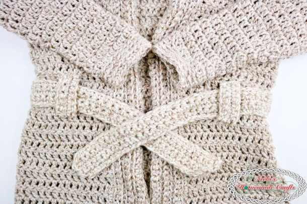 Chunky Belted Crochet Cardigan - Free Crochet Pattern by Nicki's Homemade Crafts #crochet #cardigan #easy #fast #free #crochet #pattern #premier #serenity #chunky #yarn #belted #cozy