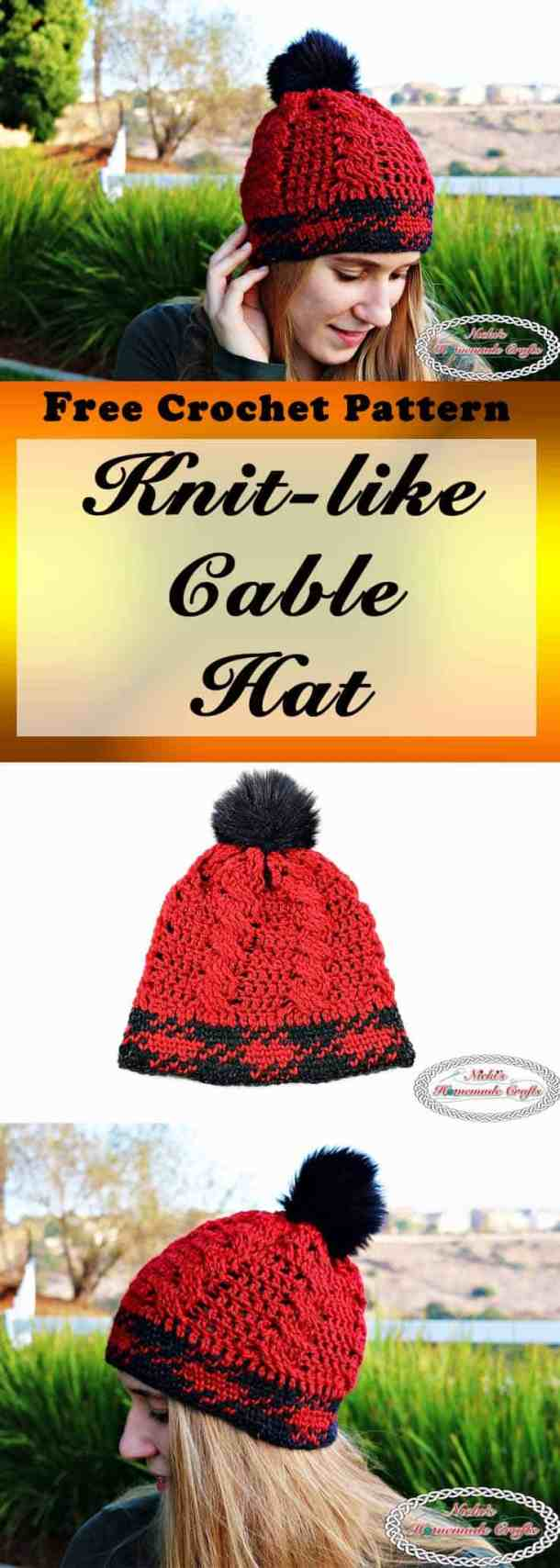 Knit-like Cable Hat with Faux Fur Pom-Pom - Free Crochet Pattern