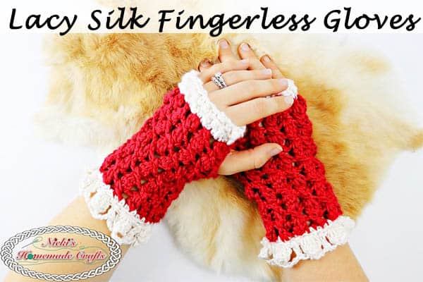 Red and White Lacy Silk Fingerless Gloves using the Cluster in a Slant Stitch Pattern is a Free Crochet Pattern by Nicki's Homemade Crafts
