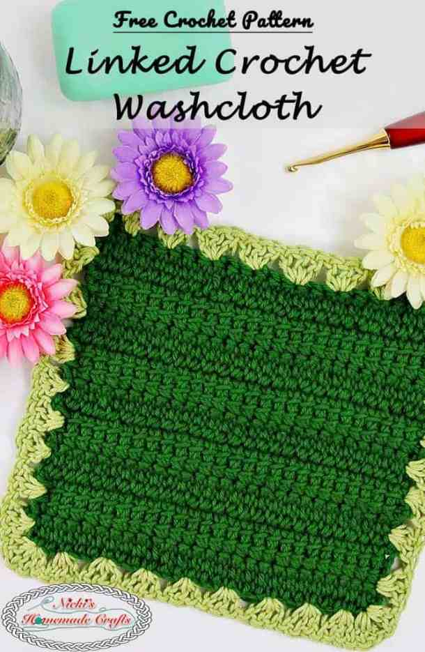 Linked Crochet Washcloth Free Crochet Pattern Nickis Homemade