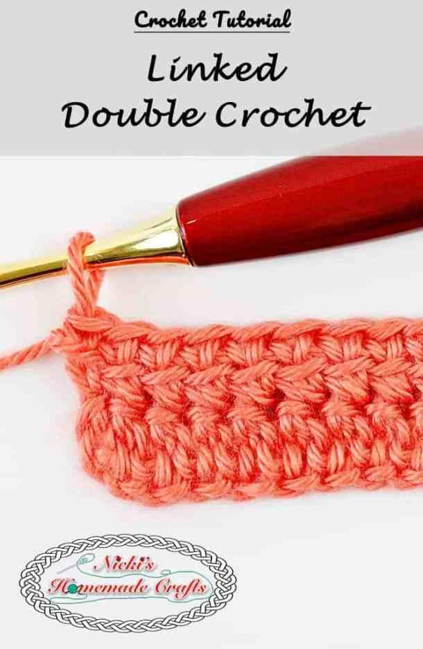 Linked Double Crochet Tutorial shown using a furls crochet hook and caron simply soft yarn