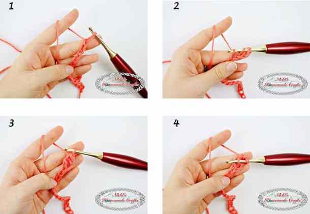 Linked Double Crochet Tutorial shown using a furls crochet hook and caron simply soft yarn