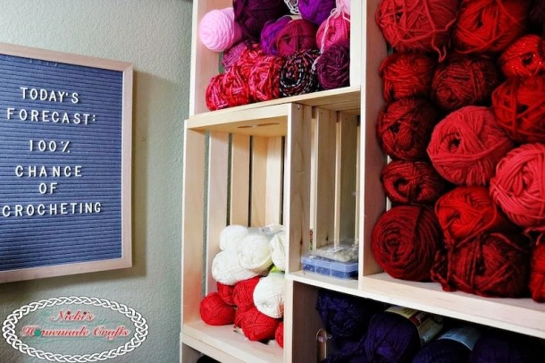 How to create your own DIY Yarn Storage Shelving Unit which is a Craft Tutorial by Nicki's Homemade Crafts
