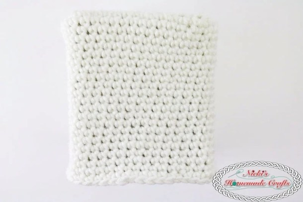 Panda Bear Tissue Box Cover which is a Free Crochet Pattern by Nicki's Homemade Crafts featuring just the white body of the panda bear