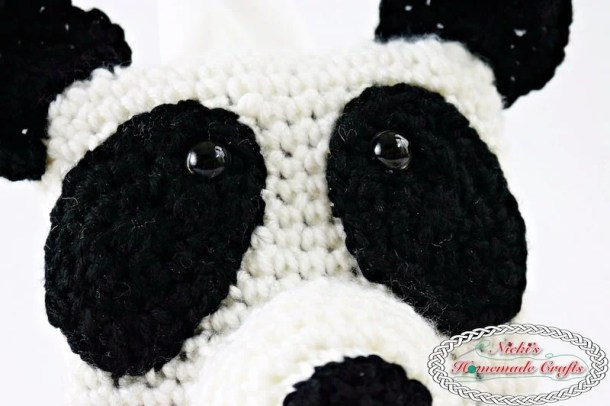 Panda Bear Tissue Box Cover which is a Free Crochet Pattern by Nicki's Homemade Crafts featuring the ear, nose and eyes of the panda bear