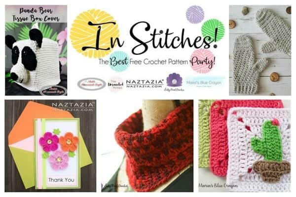 In Stitches! - Best Free Crochet Pattern Party featuring cowl, flowers, granny squares, panda bear and a mittens