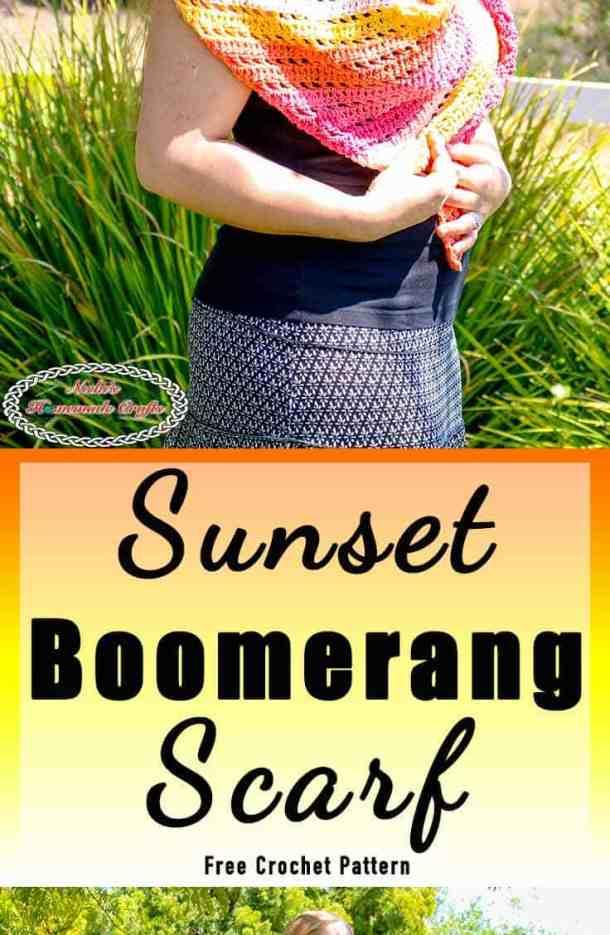 Easy Crochet Scarf looks like a boomerang