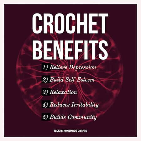 support crochet meme - crochet benefits for relieve of depression, self-care, relaxation, reduced irritability, builds community