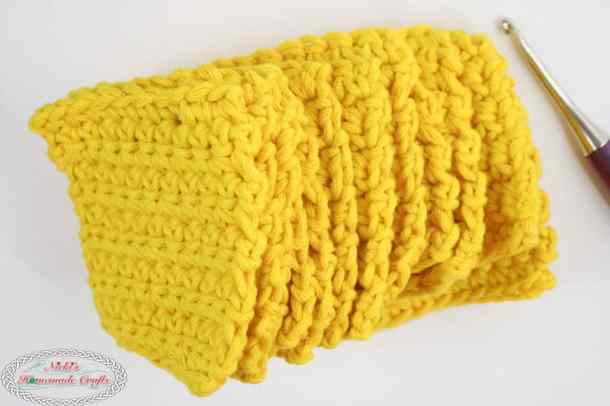 Mystery Crochet Along Part 1 yellow squares stack sideways