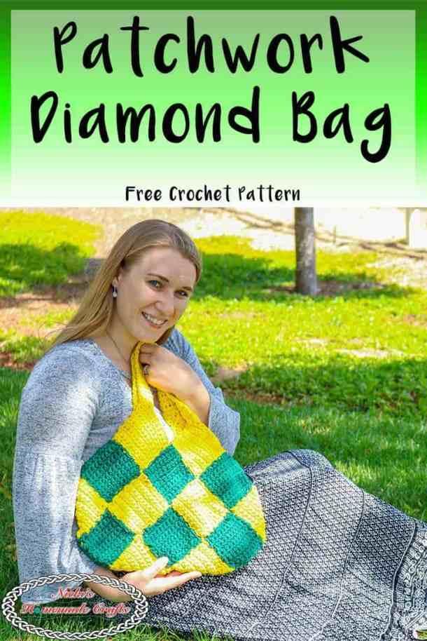 Patchwork Diamond Bag is a free crochet pattern