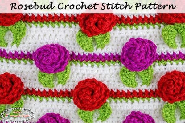 Rosebud Crochet Stitch Pattern – Photo and Video Tutorial
