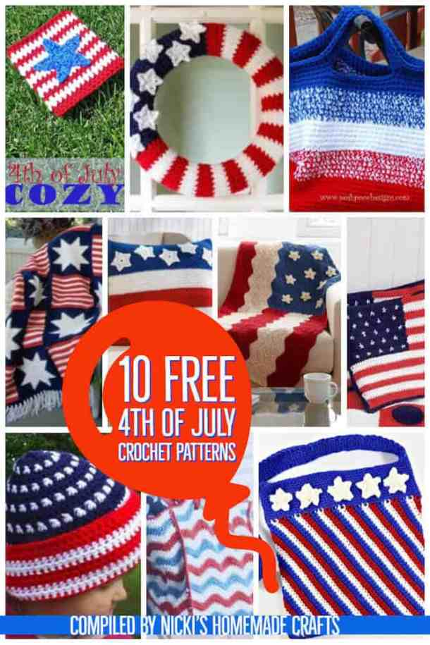 10 Free 4th of July Crochet Patterns and American Flag and Patriotic Bags
