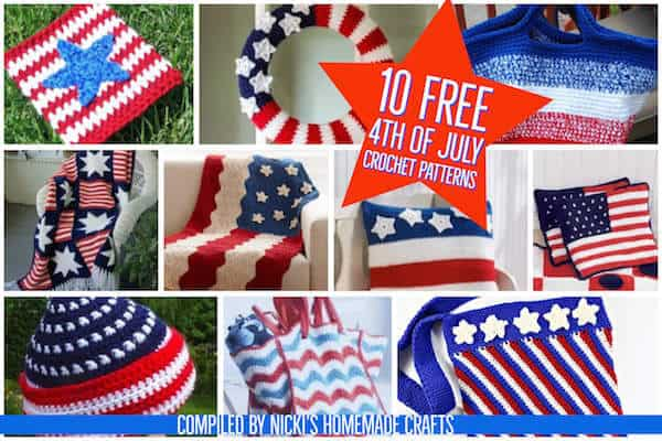 10 Free Crochet Patterns for 4th of July Patriotic and American Flag