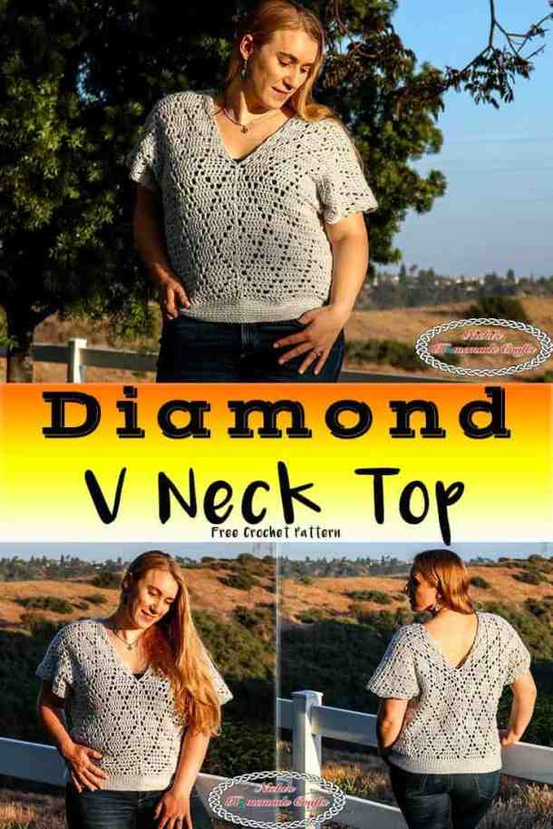 Diamond V Neck Top Crochet Pattern